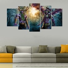 5 Panels World Of Warcraft Game Poster Wall Art Picture Home Decoration Living Room Oil Printed Printing On Canvas