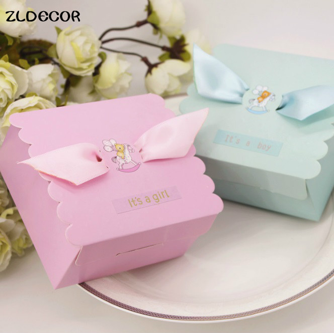 Buy Cheap Blue Pink Lovely Candy Box Baby Shower Favors Baptism