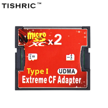 TISHRIC 2 Ports For Micro SD TF to CF Adapter Adaptor For MicroSD HC to Compact Flash Type I Memory Card Reader Converter(China)