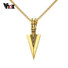 Vnox Striking Mens Necklaces Punk Spearhead Arrowhead Pendant Necklace for Men Special Surf Bike Jewelry