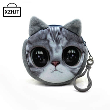 11 Style Mini 3D Cat Plush Coin Purse Animals Prints Zipper Wallets Harajuku Children Bag Women Billeteras Cute Monedero Gato(China)