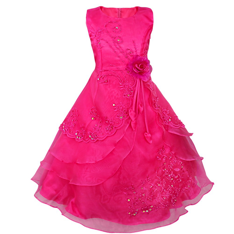 Kids Flower Girls Dress Embroidered Pageant Party Wedding Bridesmaid Ball Gown Prom Princess Formal Occassion Long Dress 4-14Y<br>