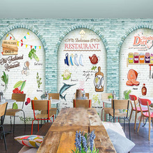 Custom photo wallpaper European style Cafe fast food restaurant graffiti wall painting 3D brick wallpaper mural
