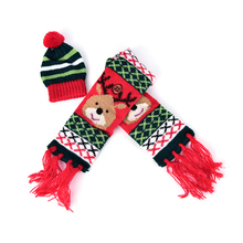 1 Set Cute Scarf Hat Knitted Red Wine Bottle Decoration Scarf Bear Tassel Santa Claus Hat For Christmas Decorations(China)