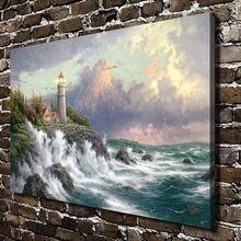 H1034 Thomas Kinkade Conquering The Storms, HD Canvas Print Home decoration Living Room Bedroom Wall pictures Art painting(China)