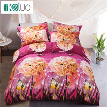 keluo luxury bedding set duvet cover bedclothes butterfly roses gift painting roses 3d print bedding sets swan