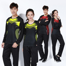 Men/women spring/winter long sleeved badminton sport suit,fast dry table tennis shirts+pants train clothes,ping-pong jerseys(China)