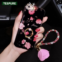 YESPURE Silicone Cheap Cute Cell Phone Cases for Iphone 6plus/6s Plus Bling Glitter Flower Soft Phone Fundas with Finger Ring
