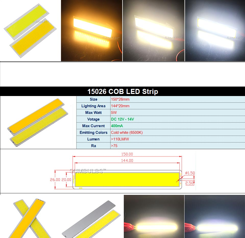 DC12V LED COB Bulb Light Emitting Diodes 2W-200W Round COB Strip White Red Blue Color 12V LED Lamp Chip for Auto Car Bulbs DIY (9)