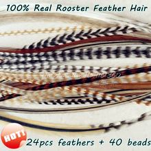 "24pcs 6""-12"" Whiting Grizzly Rooster Feather Hair Feather Extensions Styling for Women Hair Accessories for Feather Hair Clip In(China)"