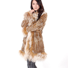 EMS FREE SHIPPING*2015 WINTER KNITTED RABBIT FUR COATS/ FUR JACKETS WITH MONGOLIAN FUR COLLAR TRIMMING*SU-12128