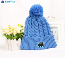EastVita Bluetooth Beanie Knitted Hat Cap Wireless Headphone Headset Earphone Stereo Speaker Pink S03(China)