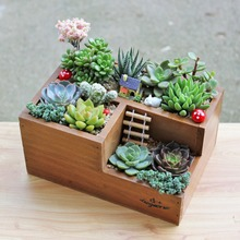 Garden Planter Home Storage Box Wooden Jewelry Holder Wonderful Gift Rustic Natural Wooden Succulent Plant Flower Bed Pot Box