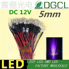 400-410nm UV 100pcs/LOT Pre wired 5mm Bright LEDs Bulb 20cm Prewired 12V/24V LED Lamp LED LIGHTING