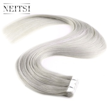 "Neitsi Skin Weft Hair Extension 20"" 20pcs 40g Grey4# Mini Tape In Hair Extensions Straight 100% Premium Virgin Remy Human Hair"