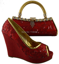 latest italy shoes with Matching bags good quality fashionable shoes and bag set For lady! EMF7317-11