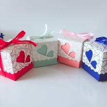 10pcs/lot DIY Beautiful Candy Box with Ribbon Wedding Birthday Favor Gift Boxes Sweet Hearts Cute Box Happy Event Supplies