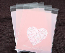 100pcs/lot Pink hearts Plastic cookie packaging bags cupcake wrapper self adhesive bags 13x19cm  free shipping