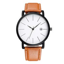 Free shipping BAOSAILI Top Brand Clean Popular Leather Strap Unisex Men Women Wrist Watch with Calender Waterproof life Bs1040(China)