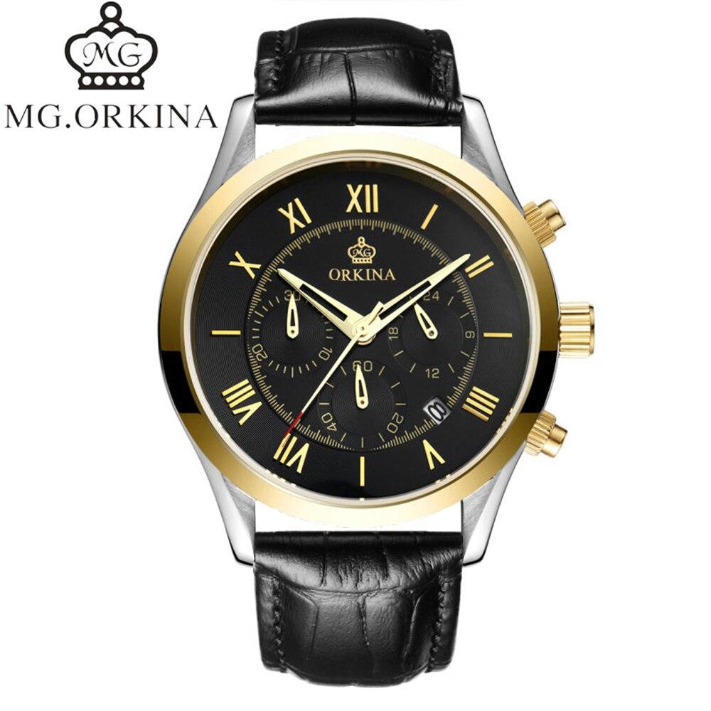 2017 NEW Fashion Casual ORKINA Brand Waterproof Quartz Watch Men Military Leather Sports Watches Man Clock Relogio Masculino<br>