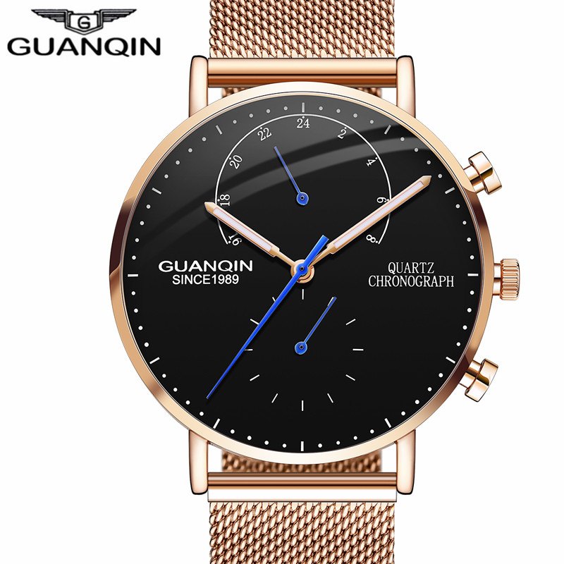 GUANQIN Brand Luxury Watches Men Business Casual Chronograph Mesh Strap Quartz Watch Mens Fashion Full Steel Creative Wristwatch<br>