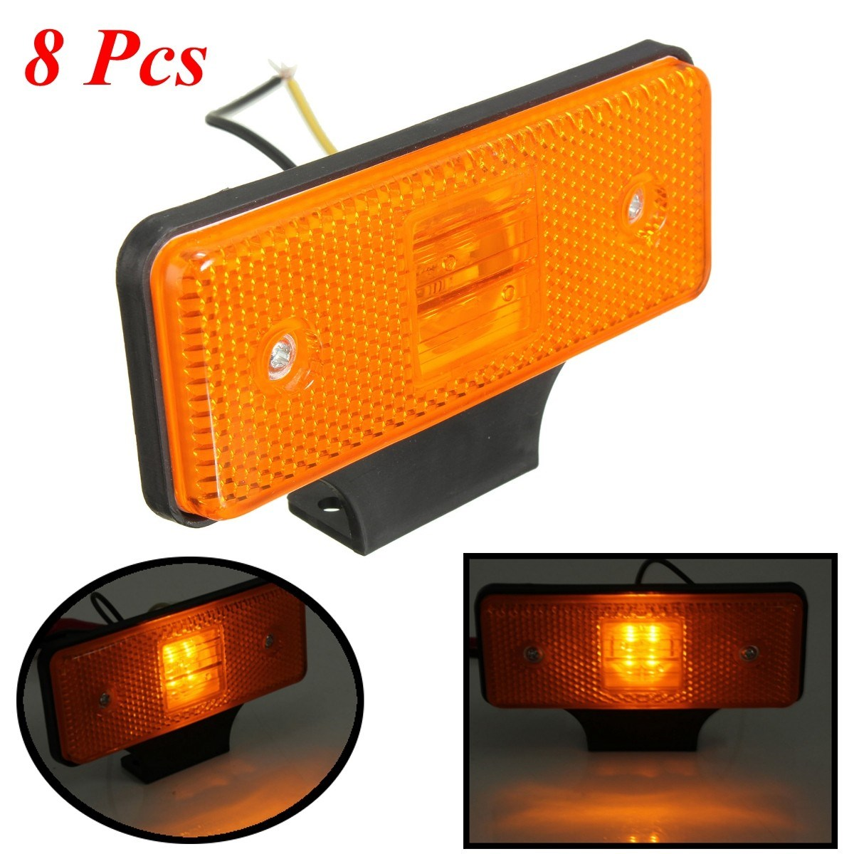 New 8 Pcs Universal 12V Truck Vehicle Amber 4 LEDs Side Market Light Lamp Indicator<br><br>Aliexpress