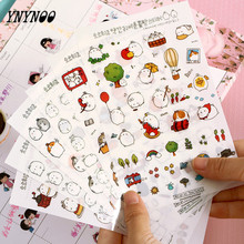 YNYNOO Cute Lovely Rabbit 6 Sheets Sticker for Diary Scrapbook Book decoration DIY Personalized Photo Album Cartoon stickers Toy