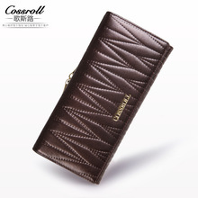 2017 New Europe fashion Plaid long wallet leather hand bag bag purse(China)