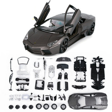 DIY Assembly Cars Reventon Alloy Car Simulation Model 1:24 Bat Sports Car Collection Model Color Box Toys Gift(China)