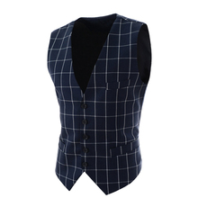 2017 Slim Fit Mens Waistcoat New Casual Suit Vest Men Plaid Style Men Chalecos Hombre Business Dress Vest Sleeveless Gilet MQ171(China)