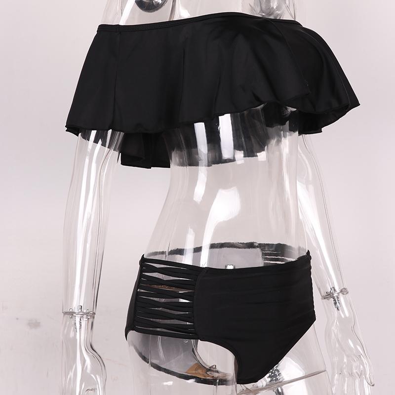 Sexy Ciało Stałe kolor Off Ramię Bikini Set Push Up bandeau bikini 2017 stroje kąpielowe strój kąpielowy Falbala kobiety wysoka talia stroje kąpielowe 11