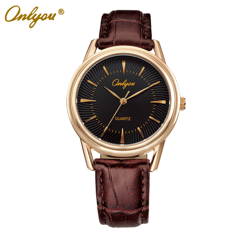 Onlyou Brand Leather Quartz Watch Women Men Lovers Fashion Casual Black Rose Gold Wristwatches Relogio Masculino Feminino  8801<br>