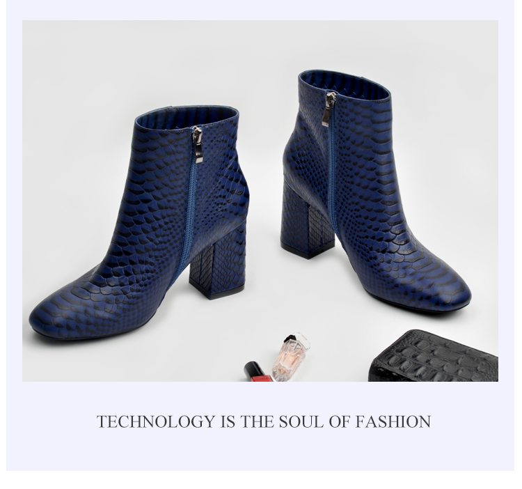 Donna-in 2017 new style ankle boots sexy snake leather women boots retro square toe thick high heel autumn boots 15325-19 (7)