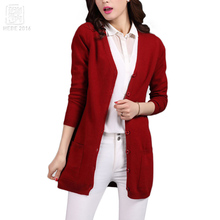 2017 Classic Cardigans V-neck Fashion Basic Women Wool Knitted Pocket Cardigan Long Sheep Wool Women Sweater Jacket Femme Mander