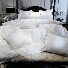 Girls white princess lace bedding set queen king size 100% Egyptian cotton satin bed sheets wedding duvet cover pillow case(China)