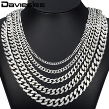 Davieslee Mens Chain Silver Color Stainless Steel  Curb Necklace High Quality Hip Hop Fashion Jewelry 3/5/7/9/11mm DLKNM07
