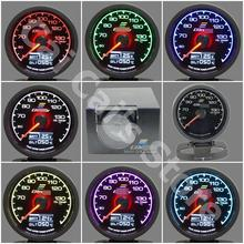 GRe**y Gauge Oil Temp Gauge GReddi 7 Light Color LCD Display With Voltage Oil Temperature 62mm 2.5 Inch With Sensor Racing Gauge(China)