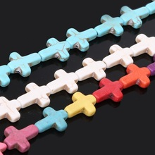 "Christmas Gift 12*16mm Round Synthetic Stone Dyed Calaite Howlite Cross Beads 15"" For Bracelet Necklace Jewelry"