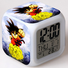 Japanese Figurines Dragon Ball z LED Colorful Touch Light Temperature Alarm Clock PVC Super Figma Kids Toys friend gift
