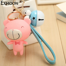 Top Quality Pink Cute Pig Cartoon Doll PVC Keychains Gold-Color key chain women trendy bag&car key holder&pendant free shipping