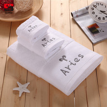 Sookie 3Pcs White Embroidered Constellation Bath Towel Set 100% Cotton Absorbent Face Clean Beach Towel Soft Gym Sports Towels(China)