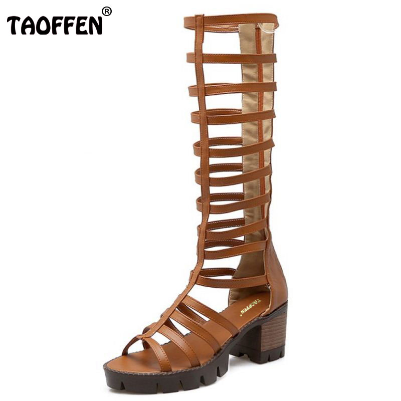 TAOFFEN Size 34-43 Women Gladiator Sandals Sexy Fashion Cross Strap Shoes Open Toe Square Heel Sandlias Soft Party Footwear<br>