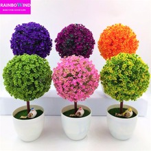 1pc Welcoming Sakura Emulate Bonsai Simulation Decorative Artificial Flowers Fake Green Pot Plants Ornaments Home Decor