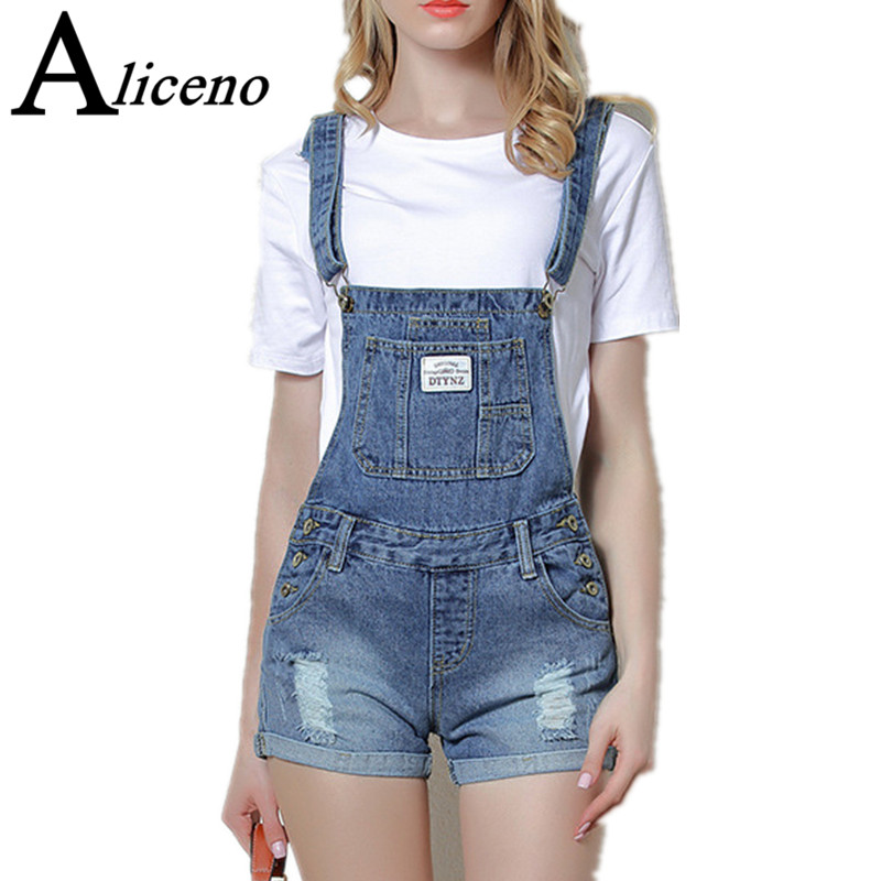 ALICENO Schoolwear Flanging Wash Rompers Summer Overalls Women Playsuits Suspenders Shorts Jeans Women Overalls Summer Rompers