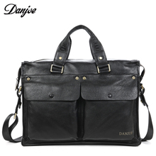 DANJUE brand genuine Leather Briefcase businessman HandBags 14 inch Laptop travel shoulder bag New