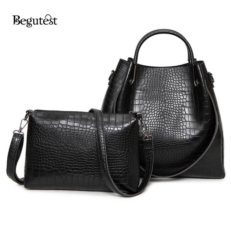 2017 Korean Fashion Women Alligator Composite Bags High Quality PU Leather Woman Shoulder Bags Ladies Messenger Bag Feminina <br><br>Aliexpress