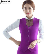 New fashion women vest skirt suit  slim formal Business V-neck Vest and skirt set work wear office ladies plus size uniforms
