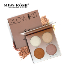 Miss Rose 4 Colors Brighten Base Makeup Glow Kit Palette Highlighter Makeup Illuminator(China)