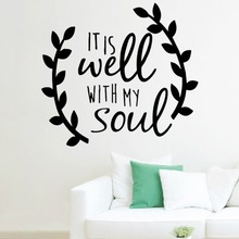 & It is well with my soul decal sticker car truck tablet laptop cell phone window vinyl wall quotes home decor bedroom decal(China)