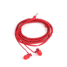 Fashion Wooden Beads Bracelet Earphone Earbuds With Microphone For Iphone Android MP3 Media Player #263293(China)